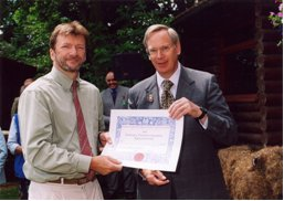 Terry receiving certificate